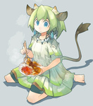 1girl akitsu_taira animal_ears barefoot blue_eyes cow_ears cow_girl cow_tail curry dress earrings food green_hair grey_background horns jewelry monster_girl original rice short_hair shorts_under_dress simple_background sitting solo spoon tail wariza