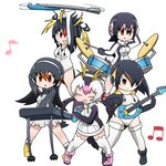 5girls :d animated antenna_hair beamed_eighth_notes black_hair blonde_hair brown_hair closed_eyes closed_mouth commentary drawstring drum drum_set drumsticks eighth_note emperor_penguin_(kemono_friends) full_body gentoo_penguin_(kemono_friends) guitar headphones holding holding_drumsticks holding_instrument holding_microphone humboldt_penguin_(kemono_friends) instrument jacket kemono_friends keyboard_(instrument) leotard long_hair long_sleeves looking_at_viewer looking_to_the_side medium_hair microphone motion_lines multicolored_hair multiple_girls music musical_note open_clothes open_jacket open_mouth penguins_performance_project_(kemono_friends) pink_hair playing_instrument red_hair rockhopper_penguin_(kemono_friends) royal_penguin_(kemono_friends) shoes short_hair simple_background singing skirt smile spinning standing taro_(taro) thighhighs twintails ugoira white_background