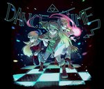 1boy 2girls bandana belt blonde_hair cadence_(necrodancer) cadence_of_hyrule cape circlet crypt_of_the_necrodancer gloves interlocked_fingers link looking_at_another looking_at_viewer multiple_girls natsuyon pointy_ears princess_zelda short_hair simple_background smile the_legend_of_zelda