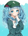 1girl bangs blue_background blue_eyes blue_hair blue_shirt blue_skirt blunt_bangs blush cabbie_hat commentary_request cowboy_shot eyebrows_visible_through_hair frilled_shirt_collar frills green_headwear hair_bobbles hair_ornament hands_up hat highres holding holding_hair kawashiro_nitori key long_hair looking_at_viewer messy_hair pocket shirt simple_background skirt skirt_set smile solo touhou two_side_up wavy_hair youtan