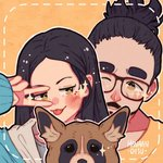 +_+ 1boy 1girl :p artist_name black_hair blush dog facial_hair glasses hanaan hand_up long_hair long_sleeves one_eye_closed original outline ponytail portrait shirt tongue tongue_out v white_outline yellow_background yellow_eyes yellow_shirt