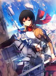 1girl black_eyes black_hair dual_wielding highres looking_at_viewer mikasa_ackerman shingeki_no_kyojin short_hair siqi_(miharuu) solo sword three-dimensional_maneuver_gear weapon
