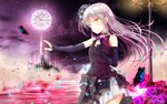 1girl bang_dream! bug butterfly clock detached_sleeves floating_hair flower hair_between_eyes highres insect lolita_fashion long_hair masa_(mirage77) minato_yukina neck_ribbon night outdoors pleated_skirt purple_flower purple_ribbon purple_rose ribbon rose silver_hair skirt solo very_long_hair white_skirt yellow_eyes