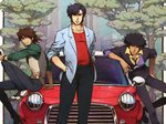 3boys black_hair black_jacket black_pants blazer blue_jacket brown_hair car cigarette city_hunter collared_shirt commentary_request cowboy_bebop cropped crossover facial_hair goatee green_shirt ground_vehicle hand_in_pocket hand_on_hip jacket kaburagi_t_kotetsu knee_up leaning_on_object looking_at_viewer male_focus mini_cooper motor_vehicle multiple_boys necktie nira_(niratoro) on_vehicle open_clothes open_jacket outdoors pants red_shirt saddle_shoes saeba_ryou shirt shoes sitting sleeves_folded_up smile spike_spiegel standing tiger_&_bunny tree vest watch wristwatch yellow_shirt