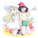 2girls beanie black_hair blonde_hair blue_eyes braid dress flower green_eyes green_shorts hand_on_headwear hat holding_hands lillie_(pokemon) long_hair mizuki_(pokemon) multiple_girls one_eye_closed open_mouth pokemon pokemon_(game) pokemon_sm red_hat shirt short_hair short_sleeves shorts sleeveless sleeveless_dress smile sun_hat tied_shirt twin_braids twitter_username white_dress white_hat yuki56 z-ring