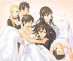3boys 3girls arakawa_under_the_bridge black_hair blonde_hair blue_eyes bow bowtie bride brown_hair carrying crossdressing dress e_no_maigo eren_yeager green_eyes groom ichinomiya_kou kagari_ayaka long_hair looking_at_another looking_at_viewer mikasa_ackerman multiple_boys multiple_girls nino_(arakawa) petals princess_carry role_reversal shingeki_no_kyojin short_hair strapless strapless_dress takamiya_honoka wedding_dress wind witch_craft_works
