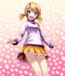 1girl absurdres alternate_costume blonde_hair blue_eyes from_below gradient gradient_background highres kagamine_rin project_diva_(series) short_twintails smile suki_kirai_(vocaloid) thighs tsukishiro_saika twintails vocaloid yumemiru_panda_(module)