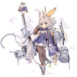 1girl :d ^_^ animal_ears armor azur_lane bangs belt breasts brown_legwear cannon cape closed_eyes curly_hair detached_sleeves expressionless eyebrows_visible_through_hair flat_chest full_body green_eyes grey_hair hair_ribbon holding holding_sheath japanese_armor kitakaze_(azur_lane) mole mole_on_breast official_art open_mouth pantyhose pleated_skirt ponytail pouch ribbon rigging rudder_footwear shaded_face sheath sheathed short_hair shoulder_armor sidelocks skirt smile sode strapless sword transparent_background tsliuyixin tubetop turret weapon