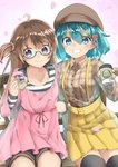 2girls :t ahoge amemiya_sekira bangs bench black_legwear blue_eyes blue_hair blush breasts brown_hair brown_headwear brown_shirt brown_shorts cabbie_hat closed_mouth coffee_cup collarbone collared_shirt commentary_request cup disposable_cup doughnut dress dress_shirt eating eyebrows_visible_through_hair fingernails food green-framed_eyewear grin hair_between_eyes hair_ornament hair_ribbon hair_scrunchie hat highres holding holding_cup holding_food long_hair long_sleeves multiple_girls on_bench original park_bench petals pink_dress pink_scrunchie plaid plaid_skirt pleated_skirt purple_eyes red_ribbon ribbon scrunchie sekira_ame semi-rimless_eyewear shirt short_shorts shorts sitting skirt sleeves_past_wrists small_breasts smile striped striped_shirt suspender_skirt suspenders thighhighs two_side_up under-rim_eyewear very_long_hair wide_sleeves yellow_skirt