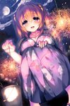 1girl :d absurdres bangs blush breasts brown_hair bucket cassini_m_bisuko cleavage cloud cloudy_sky collarbone eyebrows_visible_through_hair fingernails fireworks floral_print from_below hair_between_eyes hair_ornament hand_on_own_knee highres holding japanese_clothes kimono large_breasts long_hair long_sleeves looking_at_viewer night night_sky open_mouth original outdoors purple_eyes round_teeth sandals senkou_hanabi sky smile solo sparkler squatting star_(sky) starry_sky syroh teeth tree two_side_up yukata