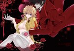 1boy 1girl 2018 alucard_(hellsing) bangs black_hair blonde_hair blood blood_on_breasts blush breasts character_name cleavage commentary_request cover cover_page crest doujin_cover eyebrows_visible_through_hair flower gloves hair_over_eyes hellsing hetero holding_hands jacket knees_together_feet_apart kurobe_sclock large_breasts long_coat no_bra no_hat no_headwear no_panties open_clothes open_jacket partially_submerged pentagram petals red_jacket rose rose_petals seras_victoria short_hair short_ponytail solo thighhighs vampire water white_gloves white_legwear