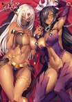 2girls absurdres areola_slip areolae arm_up armpits bangs black_hair blush breasts chain circlet collar comic_exe cover cover_page cuffs dark_elf dark_skin detached_sleeves earrings elf eyebrows_visible_through_hair groin hair_between_eyes hair_over_one_eye highres hikage_eiji holding_hands jewelry kuroinu_2 kuroinu_~kedakaki_seijo_wa_hakudaku_ni_somaru~ large_breasts long_hair looking_at_viewer lying mistiora_arte multiple_earrings multiple_girls navel no_panties o-ring on_back open_mouth origa_discordia pelvic_curtain pointy_ears purple_eyes purple_legwear revealing_clothes shackles shiny shiny_skin stomach thighhighs thighlet thighs veil white_hair yellow_eyes