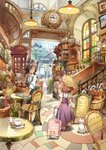 1boy 3girls animal_ears animal_hat apron bag barrel basket black_hair book bottle cafe cat cat_ears chair child clock coffee_cup cup disposable_cup dress drink eye_contact glass glasses graphite_(medium) ground_vehicle hairband handbag hat highres holding holding_book hourglass indoors lamp lamppost long_hair looking_at_another looking_to_the_side matsuda_(matsukichi) mechanical_pencil multiple_girls open_mouth original pencil phone_booth phonograph picture_(object) plant potted_plant radio rag railing reading restaurant saucer scenery sign smile spoon stained_glass stairs straw suitcase table teapot traditional_media train train_station waitress window wine_bottle
