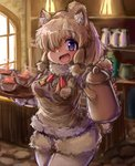 1girl :d alpaca_ears alpaca_suri_(kemono_friends) alpaca_tail animal_ears bangs blonde_hair blurry blurry_background bodystocking breast_pocket coffee_pot commentary_request cup day drink eyebrows_visible_through_hair fur-trimmed_sleeves fur_scarf fur_trim hair_bun hair_over_one_eye hands_up highres holding holding_pot holding_tray indoors kemono_friends light long_sleeves looking_at_viewer medium_hair neck_ribbon open_mouth pocket purple_eyes ribbon scarf shiitake_fuumi shorts smile solo standing sweater_vest tail tray upper_body window