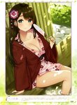1girl absurdres artist_name bamboo_fence bangs bare_legs bath_yukata bekotarou blush breasts brown_hair bush cleavage closed_mouth collarbone day dengeki_moeou dutch_angle eyebrows_visible_through_hair eyelashes fan fence floral_print flower green_eyes hair_flower hair_ornament hand_up hanten_(clothes) highres holding holding_fan japanese_clothes jewelry kimono large_breasts light lips long_hair looking_at_viewer mole mole_under_eye no_bra obi onsen open_clothes open_kimono original outdoors page_number paper_fan parted_bangs pink_kimono ring sash shadow short_kimono short_yukata sidelocks sitting smile soaking_feet solo straight_hair thighs translation_request uchiwa water wedding_band wide_sleeves yukata