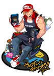 1boy arcade_cabinet baseball_cap blonde_hair blue_eyes bomber_jacket character_doll denim falcoon fatal_fury fingerless_gloves gloves hat highres jacket jeans kusanagi_kyou long_hair looking_at_viewer muscle neo_geo neo_geo_mini one_eye_closed pants pins ponytail smile snk solo tank_top terry_bogard the_king_of_fighters vest yagami_iori