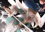blonde_hair blue_eyes blue_hat bow chevalier_d'eon_(fate/grand_order) fate/grand_order fate_(series) feathers flower frilled_sleeves frills gloves hair_bow hair_feathers hair_flower hair_ornament hat holding holding_sword holding_weapon long_hair no-kan pants petals pink_bow solo sword weapon white_flower white_gloves white_pants