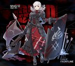 1girl alternate_costume armor armored_dress arrow axe bangs belt black_background black_pupils black_ribbon blood blood_drip blood_on_face bloody_clothes bloody_weapon braid breastplate breasts chair character_name corset crazy_eyes eyebrows_visible_through_hair flag full_body girls_frontline gloves gradient_hair greaves grey_hair grey_jacket gun highres holding holding_gun holding_weapon jacket large_breasts long_hair looking_at_viewer multicolored_hair namesake neck_ribbon official_art plate_armor polearm pouch red_eyes red_hair red_ribbon ribbon shield shotgun shotgun_shells sidelocks silver_hair smile solo spas-12 spas-12_(girls_frontline) spear sword terras torn_clothes twintails weapon