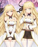 1girl aurora_(f10)_(azur_lane) azur_lane bangs bare_shoulders belt blonde_hair blush bow bowtie breasts brown_skirt cherry_blossoms cherrybell cleavage closed_mouth commentary_request detached_collar detached_sleeves dress eyebrows_visible_through_hair green_eyes hair_flaps hair_ornament hair_ribbon hand_up lace-trimmed_sleeves large_breasts long_hair long_sleeves looking_at_viewer multiple_belts open_mouth pleated_skirt purple_neckwear ribbon skirt smile thighhighs very_long_hair white_legwear