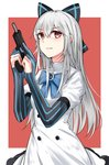 1girl absurdres bangs blue_neckwear bow buttons commentary_request dress elbow_gloves eossim eyebrows_visible_through_hair girls_frontline gloves gun hair_between_eyes hair_bow handgun hands_up highres holding holding_gun holding_weapon long_hair long_sleeves looking_at_viewer md5_mismatch partly_fingerless_gloves puffy_short_sleeves puffy_sleeves red_eyes short_sleeves sidelocks silver_hair solo star striped striped_gloves tokarev_(girls_frontline) tokarev_tt-33 two-tone_background weapon white_dress