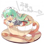 1girl cup green_hair hayasaka in_container in_cup kobayakawa_chinu long_hair maid minigirl rance_(series) sengoku_rance solo spoon tea