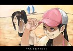 2girls adjusting_clothes adjusting_hat ball baseball_cap beach beachball brown_hair hat mage_(replica) multiple_girls original ponytail smile sports_bikini wristband