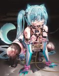 1girl ahoge anal anal_object_insertion animal_ears aqua_eyes aqua_gloves aqua_hair ball_gag bdsm black_legwear body_writing bondage bound breasts breasts_outside bukkake catheter collar commentary_request crotch_cutout crying crying_with_eyes_open cum cum_on_body cum_on_breasts cum_on_hair cum_on_lower_body cum_on_upper_body cumdrip cumdump dark dildo elbow_gloves exhibitionism eyebrows_visible_through_hair facial frown gag gloves hair_between_eyes hands_on_ground hatsune_miku highres huge_dildo kvpk5428 leash lock long_hair medium_breasts nipple_piercing nipples object_insertion one-piece_swimsuit peeing piercing pipelining revealing_clothes saliva scared skirt solo squatting swimsuit tail tears thighhighs torn_clothes torn_legwear twintails uncensored vaginal vaginal_object_insertion very_long_hair vocaloid white_swimsuit