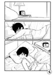 1girl 3koma bare_shoulders bed bra breasts clock comic greyscale hair_over_one_eye highres large_breasts monochrome norman_maggot ol-chan_(norman_maggot) original pillow short_hair sleepy solo underwear underwear_only