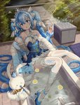 1girl absurdres animal bath bathtub blue_eyes blue_hair blush_stickers bunny cabinet chair chinese_commentary clothed_bath commentary crown cup detached_collar detached_sleeves drinking_glass faucet food frilled_skirt frills fruit hair_ornament hatsune_miku highres hmax holding holding_pipe juliet_sleeves lemon long_hair long_sleeves nail_polish outdoors pipe princess puffy_sleeves rug see-through skirt snowflake_hair_ornament sunlight tiara twintails very_long_hair vocaloid wet wet_clothes wine_glass yuki_miku yuki_miku_(2019) yukine_(vocaloid)