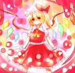 1girl ascot blonde_hair bow flandre_scarlet hat hat_bow mayo_(mayomr29) red_eyes sash solo touhou wings wrist_cuffs