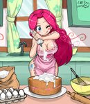 1girl apron blue_eyes blush breasts cake cleavage cream crimsonbugeye cutie_mark egg flour food groin highres kitchen large_breasts long_hair my_little_pony my_little_pony_friendship_is_magic naked_apron one_eye_closed personification pink_hair pinkie_pie sidelocks signature solo thighs tongue tongue_out window