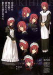 absurdres apron blue_eyes character_sheet full_body hair_ribbon highres hisui japanese_clothes kimono kohaku maid_apron maid_headdress official_art red_hair ribbon scan short_hair siblings smile takeuchi_takashi tsukihime twins yellow_eyes