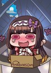 1girl amazon_(company) april_fools bangs blunt_bangs blush box brand_name_imitation brown_hair cardboard_box chibi fate/grand_order fate_(series) floating full_moon hair_bobbles hair_ornament hairband in_box in_container long_hair moon official_art open_mouth osakabe-hime_(fate/grand_order) pink_eyes riyo_(lyomsnpmp) rooftop smiley_face tearing_up