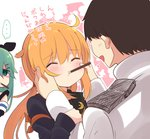 ... 1boy 2girls admiral_(kantai_collection) ahoge armband black_sailor_collar blonde_hair blue_jacket brown_hair closed_eyes commentary_request crescent crescent_moon_pin empty_eyes food food_in_mouth green_eyes green_hair hair_between_eyes jacket jealous kantai_collection long_hair long_sleeves military military_uniform multiple_girls open_mouth pocky pocky_day remodel_(kantai_collection) sailor_collar satsuki_(kantai_collection) school_uniform serafuku shaded_face short_hair simple_background spoken_ellipsis suzuki_toto translated twintails uniform white_serafuku white_uniform yamakaze_(kantai_collection)