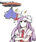 1girl animal_ears black_eyes bunny_ears closed_mouth commentary crossed_arms highres long_hair necktie peroponesosu. prehensile_ears punching_bag purple_hair red_neckwear reisen_udongein_inaba shirt short_sleeves sketch solo sweat touhou what white_background white_shirt