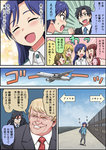 2boys 4girls aircraft airplane amami_haruka black_hair blonde_hair blue_hair brown_hair check_translation comic commentary_request donald_trump emphasis_lines formal gachon_jirou glasses hoshii_miki idolmaster idolmaster_(classic) kisaragi_chihaya long_hair multiple_boys multiple_girls opaque_glasses politician producer_(idolmaster_anime) suit translation_request