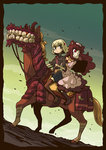 2girls blonde_hair boots brown_eyes cloud hair_ornament horseback_riding long_hair looking_at_viewer monster multiple_girls original red_eyes riding riyo_(lyomsnpmp) short_hair skirt sky teeth thigh_boots thighhighs