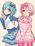 :o blue_eyes blue_hair character_request copyright_request dorothy_west kippu leona_west one_eye_closed pantyhose pink_eyes pink_hair puri_para short_hair simple_background smile