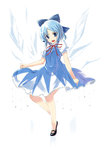 1girl blue_eyes blue_hair cirno dress hidamarinet highres mary_janes shoes short_hair solo touhou wings