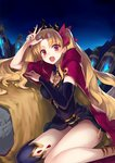 1girl :d arm_up asymmetrical_legwear bangs birdcage black_dress black_legwear blonde_hair blush bow breasts cage cape commentary_request dress earrings ereshkigal_(fate/grand_order) eyebrows_visible_through_hair fate/grand_order fate_(series) hair_bow head_tilt highres infinity jazztaki jewelry long_hair long_sleeves looking_at_viewer medium_breasts night night_sky open_mouth outdoors parted_bangs purple_cape red_bow red_eyes single_detached_sleeve single_thighhigh sitting skull sky smile solo spine thighhighs tiara two_side_up v very_long_hair