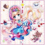 1girl bangs blonde_hair blue_eyes blue_headwear blue_skirt blush bonnet cherry chibi commentary_request cup doll_joints double_bun eyebrows_visible_through_hair food frilled_legwear fruit layered_skirt long_hair looking_at_viewer mamel_27 original parted_lips pink_shirt puffy_short_sleeves puffy_sleeves red_footwear saucer shirt shoes short_sleeves skirt socks solo sparkle stuffed_animal stuffed_toy sugar_cube tea teacup teddy_bear twintails very_long_hair white_legwear