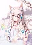 1girl :o absurdres animal animal_ear_fluff animal_ears bare_shoulders bell blush breasts cleavage covered_nipples detached_sleeves dress fingernails fish flower fox_ears fox_girl fox_tail grey_hair hair_bell hair_flower hair_ornament highres holding holding_animal jingle_bell long_hair long_sleeves looking_at_viewer medium_breasts original parted_lips purple_eyes rose see-through sleeves_past_wrists solo standing tail tree_branch veil very_long_hair wading water wet wet_clothes white_dress white_flower white_rose white_sleeves yue_(qtxyjiang)