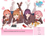 4girls bangs black_legwear blazer blue_eyes blue_skirt blunt_bangs bow brown_hair chin_rest choice commentary crossed_ankles doki_doki_literature_club english eyebrows_visible_through_hair feet_up food frown green_eyes hair_bow hair_ornament hair_ribbon hairclip hand_on_own_chin heart heart_background holding imjayu jacket kneehighs knife korean legs_up light_smile long_hair long_sleeves looking_at_another looking_at_viewer lying monika_(doki_doki_literature_club) muffin multiple_girls natsuki_(doki_doki_literature_club) neck_ribbon no_shoes noose on_stomach open_mouth pantyhose pink_eyes pink_hair ponytail purple_eyes purple_hair red_bow red_neckwear red_ribbon ribbon sayori_(doki_doki_literature_club) short_hair skirt smile tablet_pc the_pose tomato twintails twitter_username white_bow white_footwear yuri_(doki_doki_literature_club)