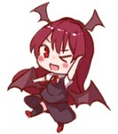 1girl ;d >_o arm_up ascot bangs black_legwear black_skirt black_vest blush chibi commentary_request demon_wings full_body head_wings koakuma long_hair looking_at_viewer lowres one_eye_closed open_mouth red_eyes red_footwear red_hair red_neckwear shoes short_sleeves simple_background skirt skirt_set smile snozaki solo standing standing_on_one_leg thighhighs touhou very_long_hair vest white_background wings