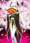 1girl black_(artist) fate/grand_order fate_(series) flower japanese_clothes kiyohime_(fate/grand_order) long_hair official_art red_eyes silver_hair solo thighhighs tree upscaled waifu2x