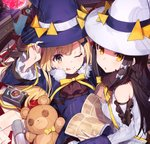 2girls :o ;p ascot bangs black_bow black_hair black_neckwear blonde_hair blue_hat bow braid brown_eyes camera copyright_request detached_sleeves directional_arrow envelope fur_collar gears hair_bow hand_on_headwear hat long_hair long_sleeves looking_at_viewer manga_(object) microphone mika_pikazo multiple_girls neck_ribbon on_lap one_eye_closed ribbon side_braid stuffed_animal stuffed_toy teddy_bear tongue tongue_out triangle white_hat witch witch_hat yellow_eyes yellow_neckwear