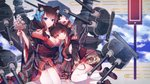 animal_ears azur_lane bangs black_hair black_kimono blue_eyes blunt_bangs blush breasts butterfly_hair_ornament cat_ears cat_mask commentary_request eyebrows_visible_through_hair full_body fusou_(azur_lane) hair_ornament highres japanese_clothes kimono large_breasts long_hair long_sleeves looking_at_viewer mask mask_on_head multiple_girls red_eyes short_hair smile thighhighs white_legwear wide_sleeves yamashiro_(azur_lane) yasato