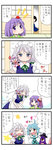 4girls 4koma ahoge apron bat_wings black_hair blue_eyes blue_hair bow braid character_doll comic commentary faceless flower grey_hair hair_flower hair_ornament hair_ribbon hands_on_own_face hat heart heterochromia hieda_no_akyuu izayoi_sakuya karakasa_obake maid maid_apron maid_headdress mob_cap multiple_girls on_shoulder puffy_sleeves purple_eyes purple_hair remilia_scarlet ribbon sliding_doors star tatami tatara_kogasa touhou translated twin_braids umbrella wings yuzuna99