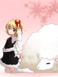 1girl animal blonde_hair fur_trim hair_ribbon kameyan kneeling red_eyes ribbon rumia sheep shirt skirt smile touhou vest