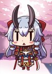 1girl april_fools armor cherry_blossoms chibi dual_wielding fate/grand_order fate_(series) hair_between_eyes highres holding holding_sword holding_weapon japanese_armor long_hair official_art oni_horns open_mouth riyo_(lyomsnpmp) silver_hair solo standing sword tomoe_gozen_(fate/grand_order) triangle_mouth weapon |_|